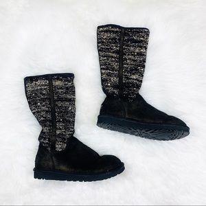 Ugg Black/Gold Metallic Camaya Slouch Boots Size 6